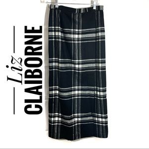 Liz Claiborne black and white plaid wrap skirt 8